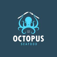 Octopus seafood emblem. Vector vintage illustration.