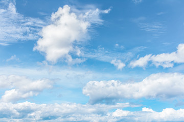 Blue sky with white clouds, cloudscape background.