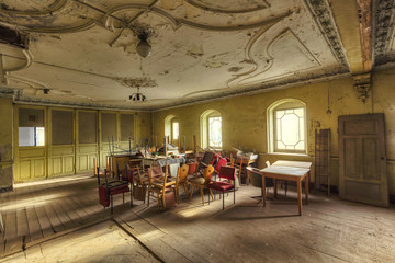 abandoned decay event hall with baroque ceiling