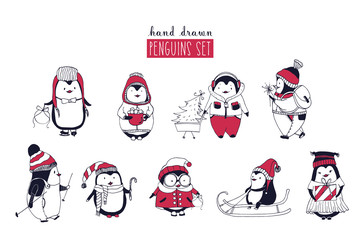 Collection of cute penguins wearing different winter clothing and hats isolated on white background. Set of cartoon arctic animals riding on sled, skiing, holding Christmas gifts. Vector illustration.