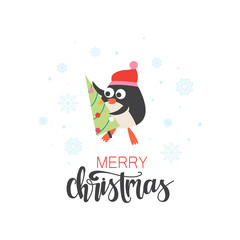 Christmas background with penguin and tree