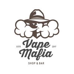 Vape mafia emblem. Vector vintage illustration.