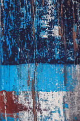 Old wooden boat detail; antique blue paint texture