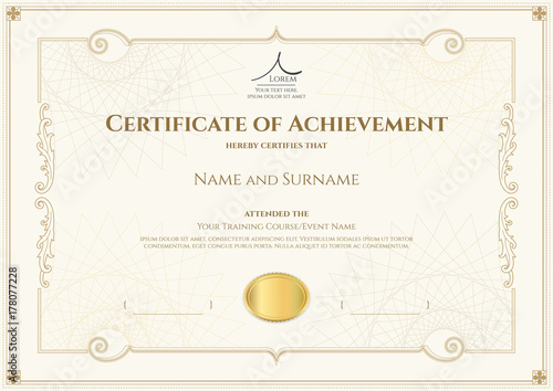 Certificate Templates | Luxury Certificate Template With Elegant Border Frame Diploma