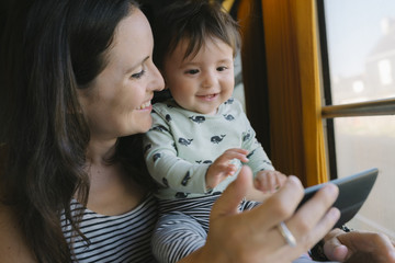 Happy mother and baby girl using smartphone while traveling by train