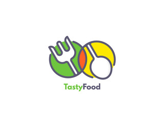 Food logo like icon. Fork and Spoon inside circles. Catering concept.