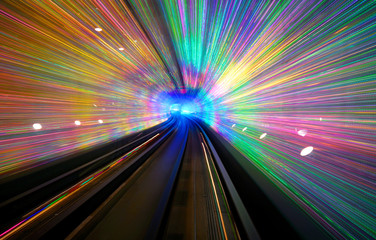 Long exposure of a tunnel with a light display in Shanghai.