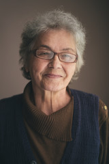 Portrait of Beautiful Senior Woman With Short Grey Hair