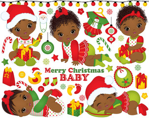 Vector Set with African American Baby Girls Wearing Christmas Clothes and Xmas Elements
