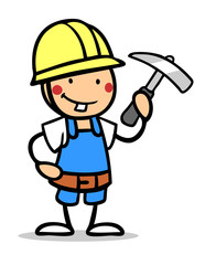 Junge im Bauarbeiter Kostüm zum Fasching