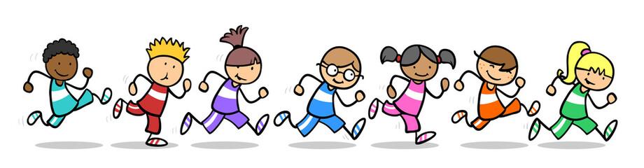 Kinder laufen ein Wettrennen beim Sport in Schule