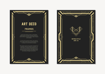 Art Deco frame design. Vintage style. Geometric frames for wedding invitations, cards and posters.