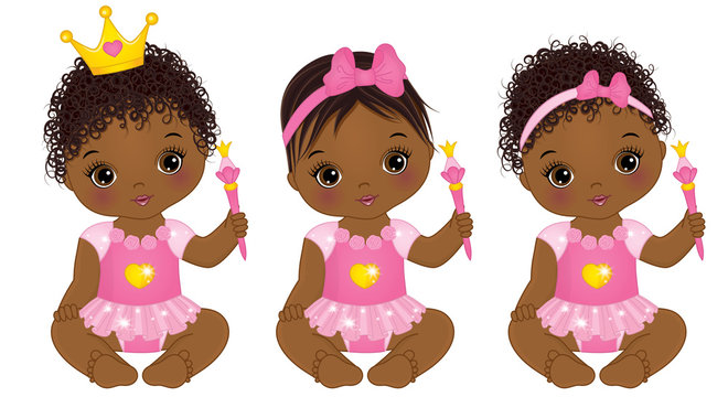 Vector Cute African American Baby Girls Dressed as Princesses