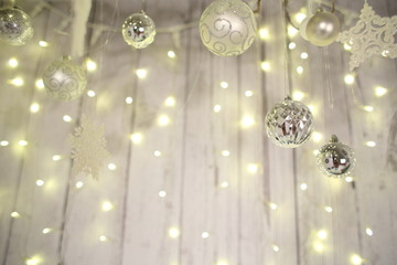 New Year decorations, Christmas tree, garlands and balls home cosiness