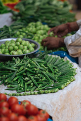 Okra at a street vegetable market