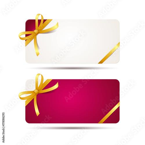 Geschenk Karte mit roter und goldener Schleife und Band, weißer ...