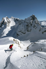 An off-piste skier on the Arlberg Mountain which is located between Vorarlberg and Tyrol in Austria.