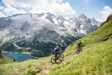 A mountain biker in the Val Gardena valley in the Dolomite Mountains in Northeastern Italy.