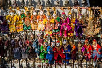 Myanmar Traditional handicraft puppets dolls in local traditional market , mandalay ,myanmar