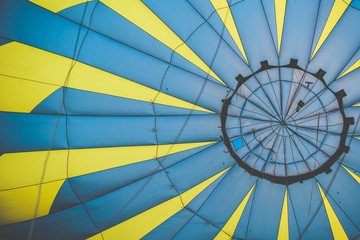 Inside Of A Yellow And Blue Hot Air Balloon