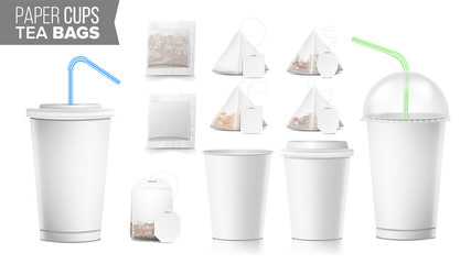 Disposable Paper Cups And Tea Bags Set Vector. Plastic Covers. Take-out Soft Drinks Cup Template. Open And Closed Paper Cup Blank. Realistic Isolated Vector Illustration.