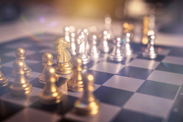 Chess board game concept of business ideas and competition and strategy plan success meaning, Stock financial statistic graph analysis data concept.
