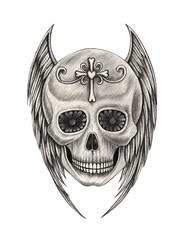 Art design wings angel skull tattoo. Hand pencil drawing on paper.