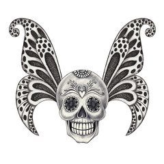 Art design wings butterfly skull. Hand pencil drawing on paper.