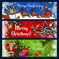 Christmas sketch banner for winter holidays design