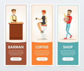 Barman, coffee, shop banners for advertising brochure, promotional leaflet poster, presentation flat vector elements for website or mobile app