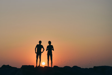 silhouette of couple on the background of a beautiful sunset