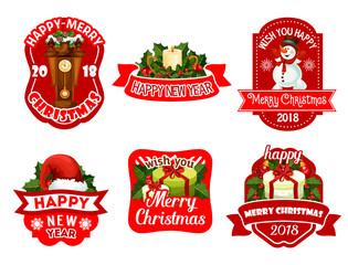 Christmas New Year holiday vector greeting icons