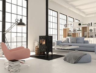 3d rendering. living room with cast iron fireplace in modern loft apartment.