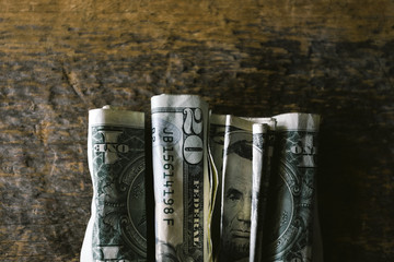 Finance: Folder Bills on Wood