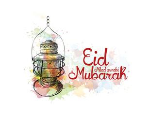 Eid Milad Un Nabi Mubarak design poster with watercolor splash sketch and lamp in vector illustration.