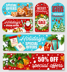 Christmas and New Year holidays sale tag design