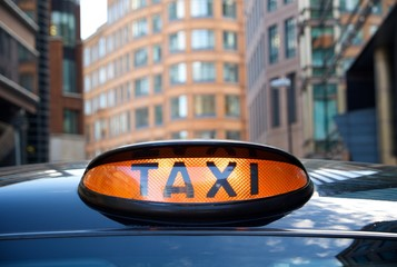 London black taxi cab sign - taxi for hire