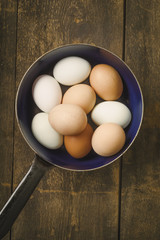 Free-range eggs in a pan