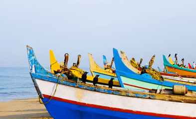 Colourful fishing boats, Kerala, India.