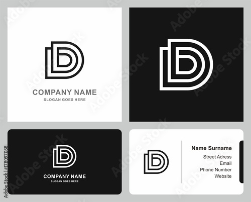 Logo Business Card Monogram Letter D Square Circle