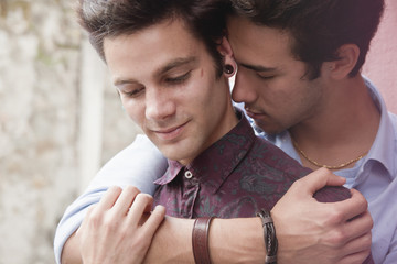 Young gay couple in love