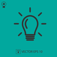 Bulb vector icon eps 10. Light symbol. Simple isolated illustration.