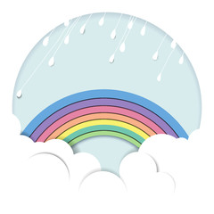 Rainy over the rainbow and cloud, paper cutting style