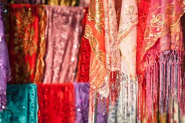 Silk for sale at local market, Xinjiang, China