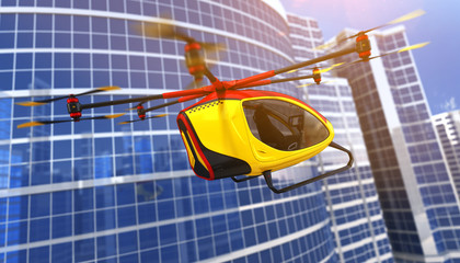 Electric Passenger Drone. 3D illustration
