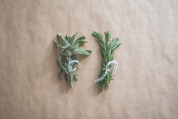 Sage and Rosemary Herbs Tied