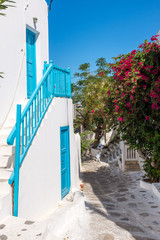 Mykonos, Greece (September 2017). Local buildings are in the small alley of Mykonos city, Greece