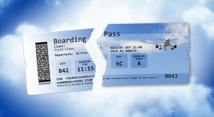 Flight cancelled concept image with ripped flight ticket - The image is totally invented and does not contain under copyright parts