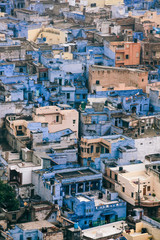 Blue houses and buildings in Jodhpur, India