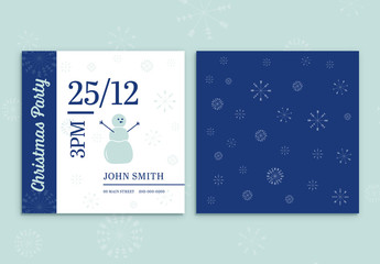 Square Christmas Party Card Layout with Snowman
